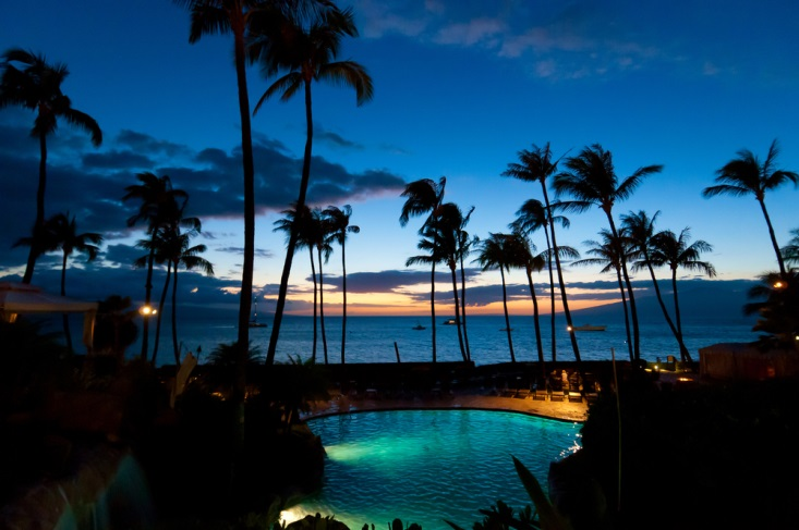 Palm trees and a pool at dusk in Maui, Hawaii