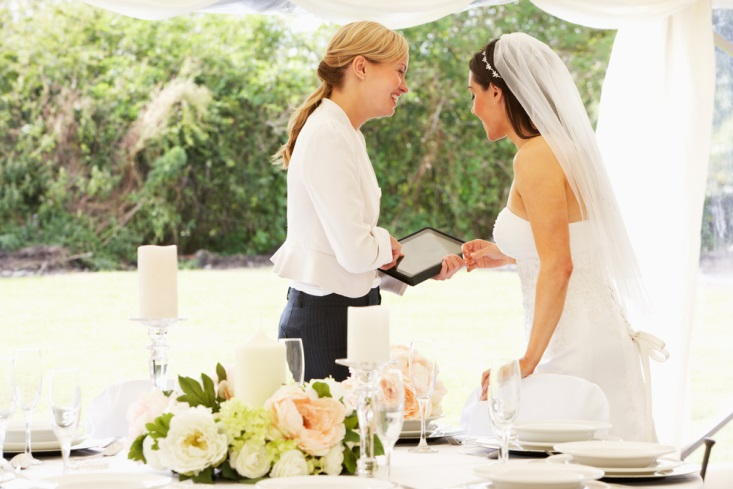 Bride consulting with her wedding planner before the reception